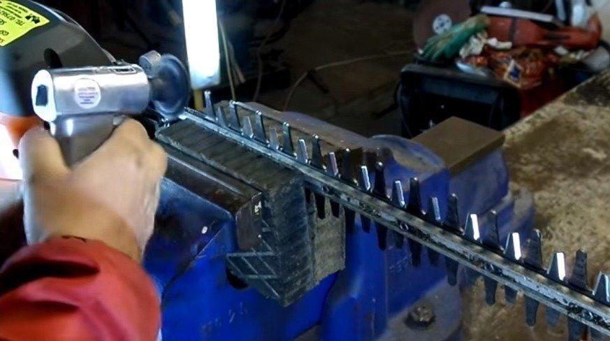 Sharpening Hedge Trimmer Blade Using a Power Grinder